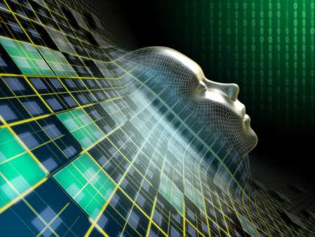 T�te humaine �mergeant d'un plan abstrait dans le cyberespace. Illustration num�rique.