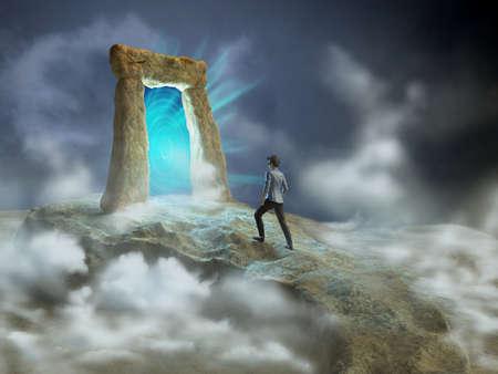 abriendo puerta: Ancient apertura de la puerta de piedra a otra dimensión. Ilustración digital. Foto de archivo