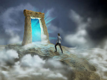 dimension: Ancient stone gate opening to another dimension. Digital illustration. Stock Photo
