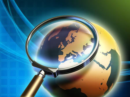 glass sphere: The Earth analyzed under a magnifying glass, with focus on Europe. Digital illustration. Stock Photo