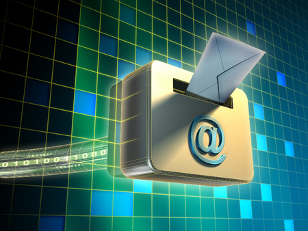 posted: Traditiona mail envelope being posted in an internet e-mail box. Digital illustration. Stock Photo