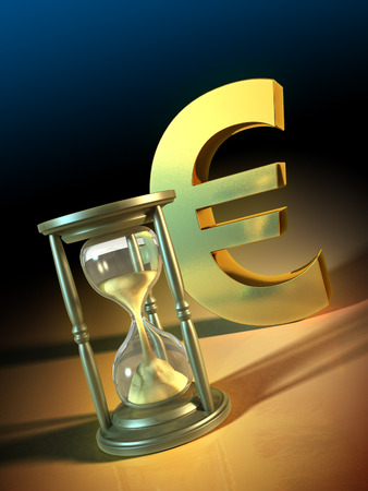 cash flow: Composition of an hourglass and a big golden euro symbol. Digital illustration.