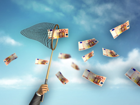 flying money: Businessman hunting for money using a net. Digital illustration.