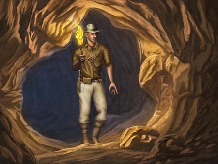 pintura rupestre: Aventurero con una antorcha encendida en la mano está explorando una cueva misteriosa. Ilustración digital. Foto de archivo