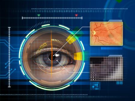 reconocimiento: El ojo humano está siendo escaneado por un interfaz futurista. Ilustración digital.