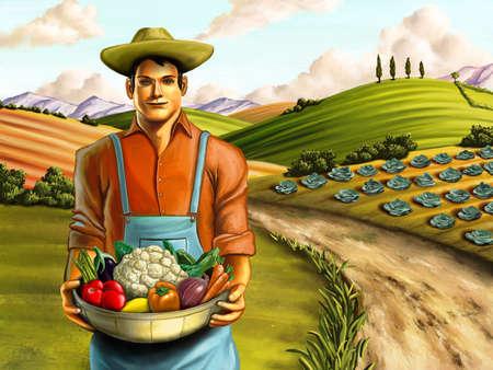 summer field: Farmer holding a basket full of fresh vegetables. Hand painted digital illustration.