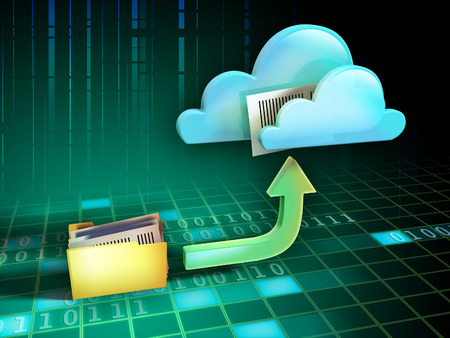 database icon: Files being uploaded from a folder to an online cloud storage service. Digital illustration.