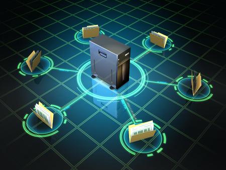 File folders connected to a desktop server. Digital illustration. illustration