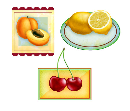 packaged: Fuit labels for apricots, lemons and cherries. Original digital illustration, included clipping path allows to isolate each fruit from its frame. Stock Photo