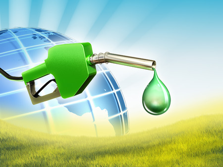 energy conservation: A gas nozzle with a drop of some eco-friendly fuel. Digital illustration. Stock Photo