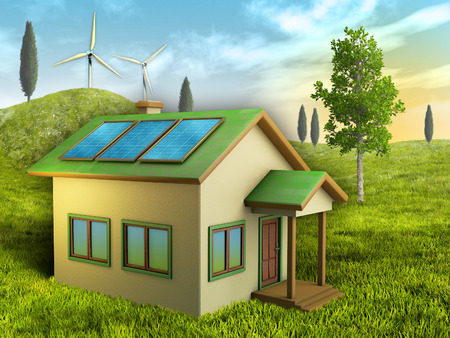 eco house: Renewable energy sources for a sustainable living. Digital illustration.