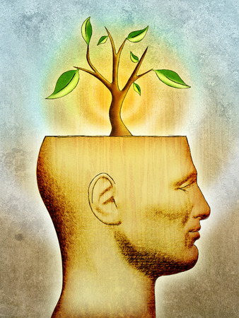 symbolized: A new idea, symbolized by a plant, is growing from a male head with its top part removed. Digital illustration.