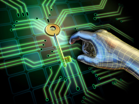 key board: Hand reaching for a key located at the center of a printed circuit board. Digital illustration. Stock Photo