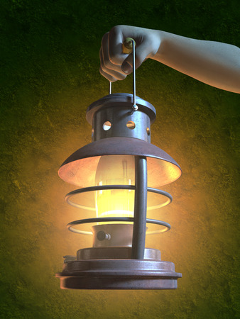 gas lamp: An hand is holding an old lantern. Digital illustration.