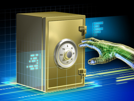 Digital data protected by a safe. An hacker hand is trying to open the safe. Digital illustration. illustration