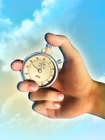 Male hand holding a stopwatch over a bright sky background. Digital illustration. illustration