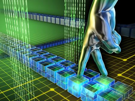 decide: Hand walks on a cyber path using its fingers. Digital illustration.