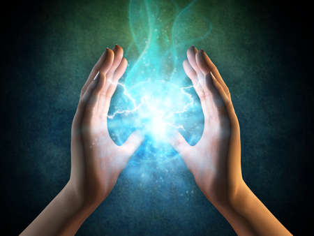 descarga electrica: Dos manos que crean una esfera de energ�a. Ilustraci�n digital.