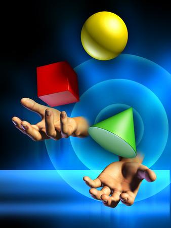 jugglery: Male hands juggling some colorful shapes. Digital illustration.