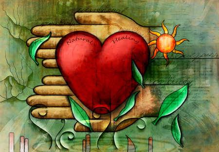 Pflege und natürliche Heilmittel in den Heilungsprozess. Digitale Illustration. Standard-Bild