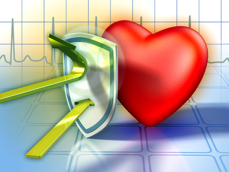 saturate: Shield protecting the heart from harmful substances. Digital illustration. Stock Photo