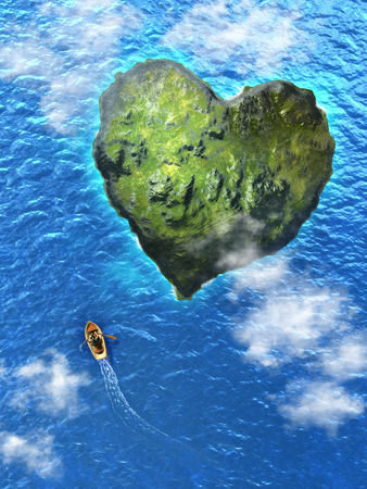 ocean view: Small rowboat heading to an heart shaped island. Digital illustration.