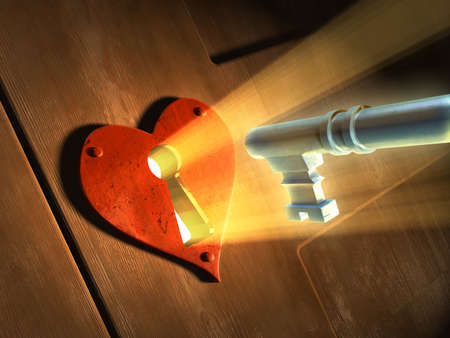 door: Light beams passing through an earth-shaped keyhole and illuminating a key in front of it. Digital illustration.