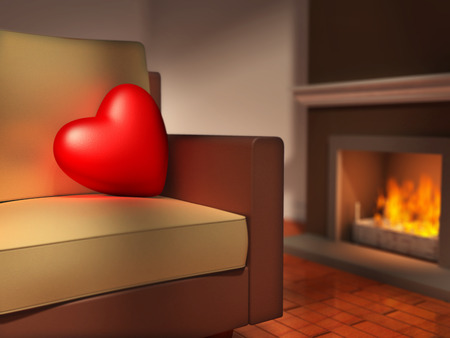 hot love: A big red heart is resting on a sofa, next to a fireplace. Digital illustration.