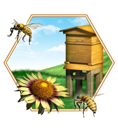 colmena: Composición agradable de algunas abejas, una flor y una colmena. Adecuado para etiquetas de los alimentos. Ilustración digital.