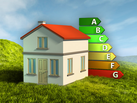 house energy: House energy ratings. Digital illustration.