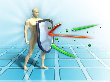 corpo umano: Sistema immunitario difende il corpo umano da attacchi esterni. Illustrazione digitale.