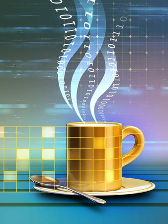 online world: Internet cafe concept: real world elements merge into the online world. Digital illustration.