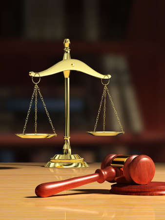 civil law: Justice scale and wood gavel, bookshelf visible on background. Digital illustration. Stock Photo