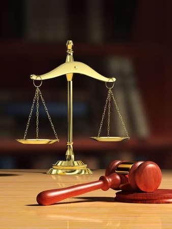 bookshelf digital: Justice scale and wood gavel, bookshelf visible on background. Digital illustration. Stock Photo