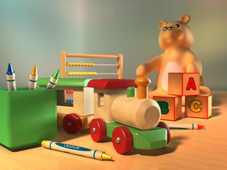 3d kids: Some kids toys on a wooden surface. Digital illustration.