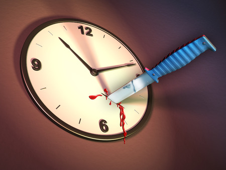killings: A clock stabbed with a knife. Digital illustration.