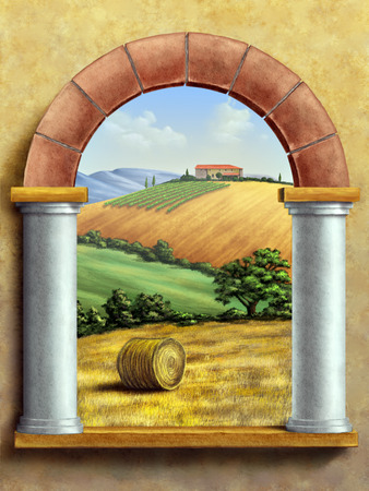 tuscan house: Beautiful tuscan landscape seen through a window. Hand painted digital illustration.