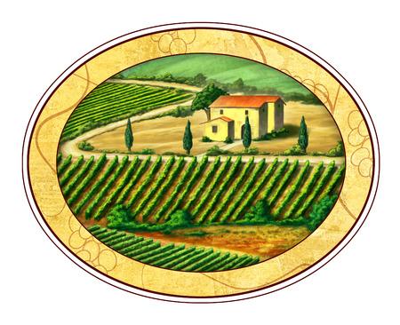 Beautiful vineyards landscape in an elliptical label.Digital illustration. illustration