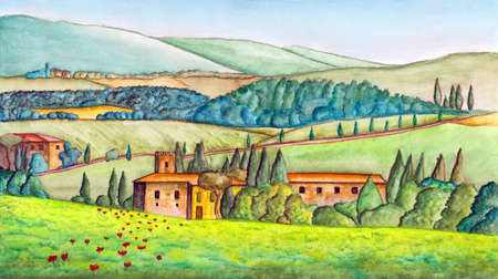 Beautiful italian country landscape, painted in watercolor. Original illustration. Stock Photo