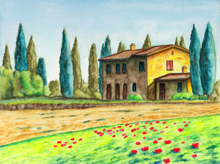 diagonals: Rural landscape with a typical italian house. Original watercolor.