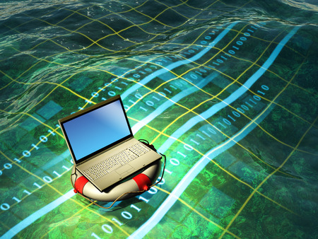 wide screen: A modern laptop floating in a digital sea. Digital illustration Stock Photo