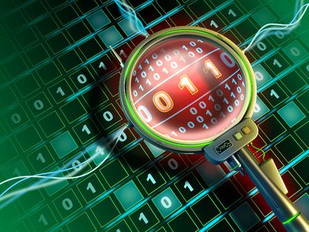 virus informatico: Lentes de alta tecnología está escaneando un flujo de datos binarios. Ilustración digital.