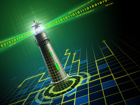 Lighthouse emerging from a wire-frame plane in a digital dimension. Digital illustration.