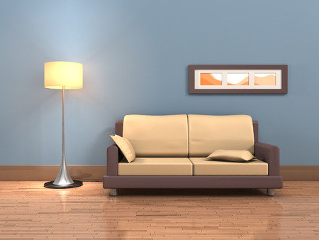 Rendering of a living room with a sofa and a floor lamp. Digital illustration. illustration