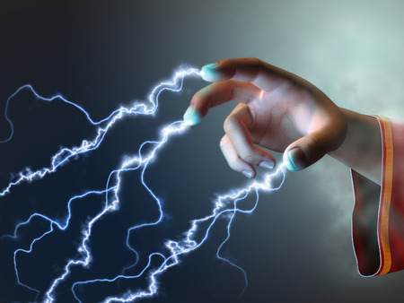 spell: Magician using its fingers to create some energy bolts. Digital illustration. Stock Photo