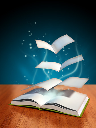 novels: Pages flying away from a magical book. Digital illustration.