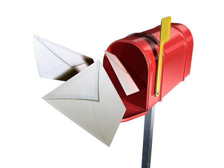 Some mail envelopes flying out from a red mailbox. Digital illustration, clipping path included. illustration