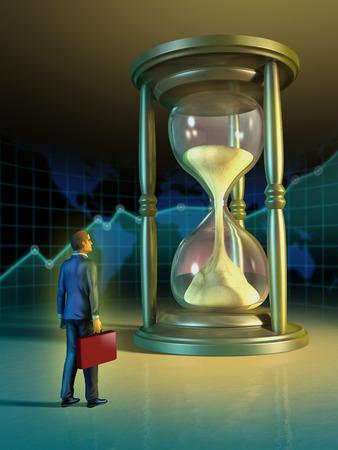 Businessman looking at a giant hourglass. Digital illustration. illustration