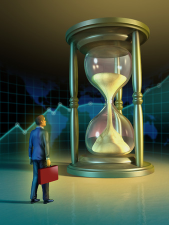 hour hand: Businessman looking at a giant hourglass. Digital illustration. Stock Photo