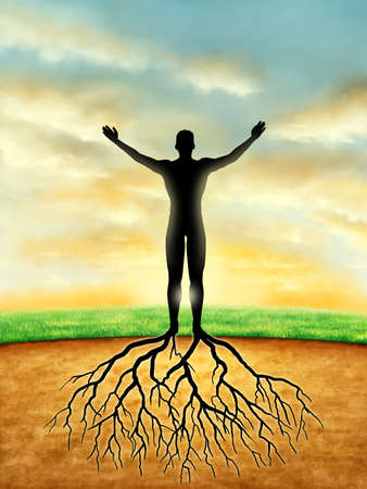 heaven and earth: Man silhouette connects to the Earth with some roots developing from its legs. Digital illustration. Stock Photo